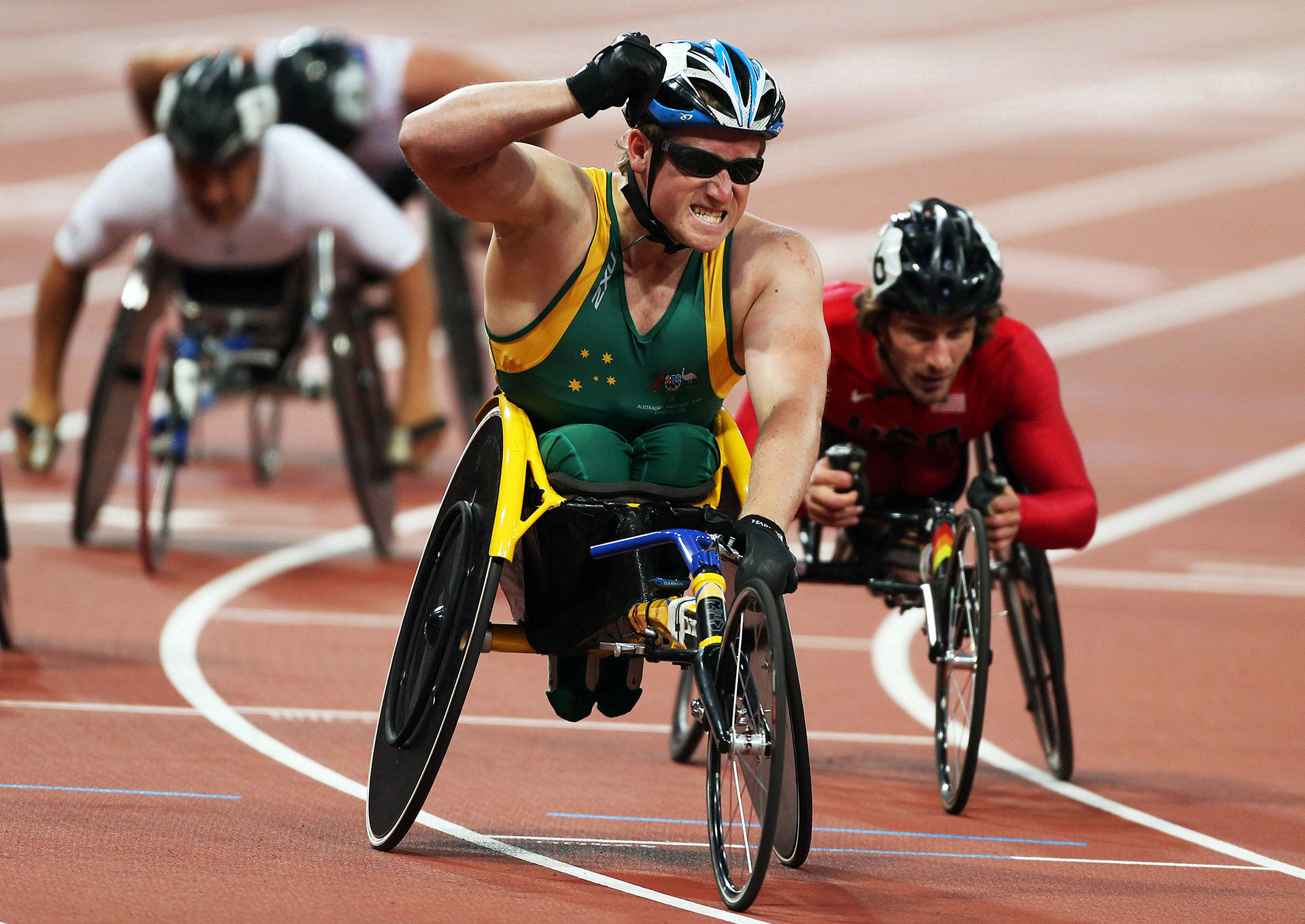 Photograph of Australian Paralympic team members at the 2012 Summer Paralympic Games in London
